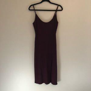 Burgundy and black body-con slip dress